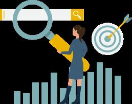 Disegno di una ragazza con lente di ingrandimento e barra di ricerca google
