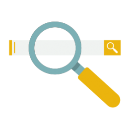 Disegno di un motore di ricerca e di una lente