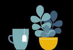 Illustrazione di una pianta e di una tazza
