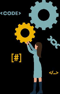 Web designer: disegno di ragazza con htlm e ingranaggi