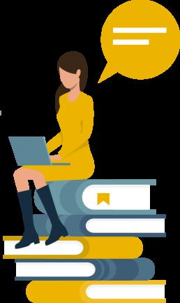 Web designer: disegno di una ragazza con computer che lavora