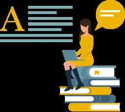 Web designer: disegno di una ragazza con computer